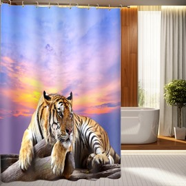 3D Lying Tiger Under the Sunset Printed Polyester Shower Curtain