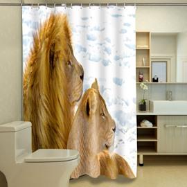 Excellent Romantic Lion Couple 3D Shower Curtain