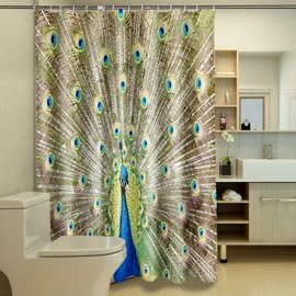 3D Peacock in His Pride Printed Polyester Green Shower Curtain