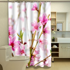 Stylish Lush Peach Blossom Polyester 3D Shower Curtain