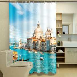 Charming Harbor Scenery Polyester Fabric 3D Shower Curtain