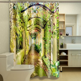 3D Green Plants Corridor Printed Polyester Bathroom Shower Curtain