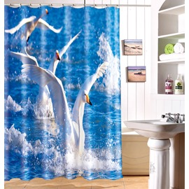 New Arrival Lovely Flying Birds Print Polyester 3D Shower Curtain