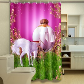 3D Carriage Printed Polyester Rose-Red Bathroom Shower Curtain