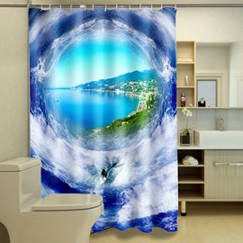 New Style Charming Unique Surfer And Peaceful Harbor 3D Shower Curtain