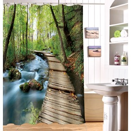 3D Secluded Forest and Wooden Path Printed Polyester Green Shower Curtain