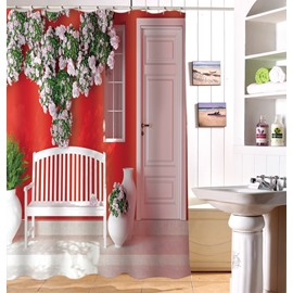 Unique Style Lush Flowers And Bench 3D Shower Curtain