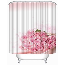 Elegant Pink Flowers Print 3D Shower Curtain