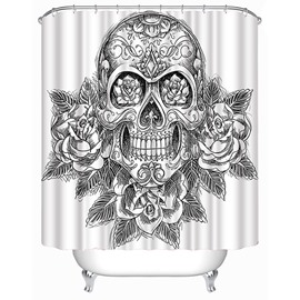 3D Skull and Roses Printed Polyester White Shower Curtain