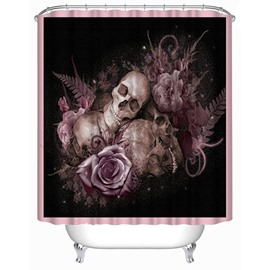 3D Skulls and Flowers Printed Polyester Black Shower Curtain