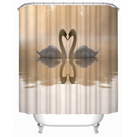 Lovely Swan Couple Print 3D Shower Curtain