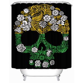 3D Skull With Flowers Printed Polyester Black Shower Curtain