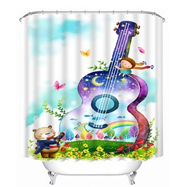 Colorful Violoncello Print 3D Shower Curtain