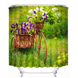 3D Bike with Purple Flowers Printed Polyester Green Shower Curtain