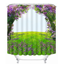 3D Purple Flowers and Grassland Printed Polyester Shower Curtain