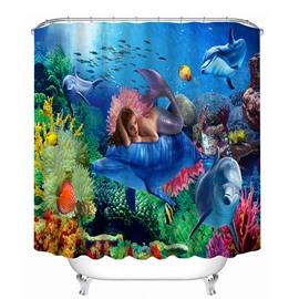 Mysterious Mermaid With Submarin World Print 3D Shower Curtain