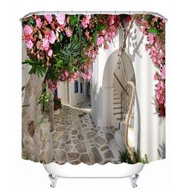 A Blooming Peach Tree in fron of the White Door Print 3D Shower Curtain
