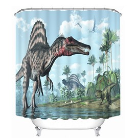 Fiercely Dinosaur 3D Printing Bathroom Shower Curtain