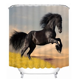 3D Black Jumping Horse Printed Polyester Bathroom Shower Curtain