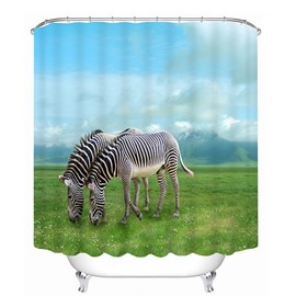Couple Zebra Graze on the Prairie 3D Printing Bathroom Shower Curtain