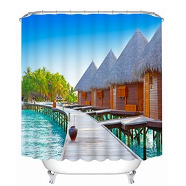 Wooden Houses beside the Water Print 3D Bathroom Shower Curtain