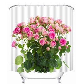 A Bunch of Pink Roses Print 3D Bathroom Shower Curtain