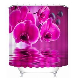 Pink Fringed Iris and Shadow 3D Printing Bathroom Shower Curtain