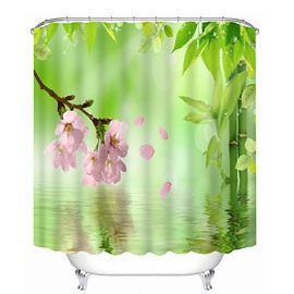 Pink Flower and Green Leaves on the Water 3D Printing Bathroom Shower Curtain