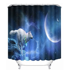 3D Running Wolf Printed Polyester Blue Bathroom Shower Curtain