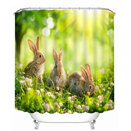Three Cute Rabbits Playing on the Grassland Print 3D Bathroom Shower Curtain