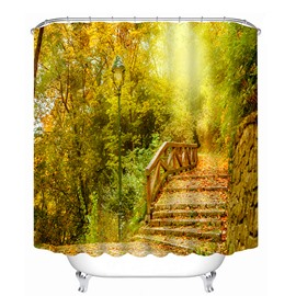 Stone Bridge in the Autumn Forest 3D Printing Bathroom Shower Curtain