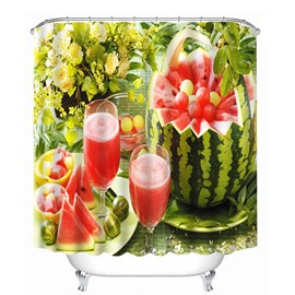 Delicious Watermelon Juice Print 4D Bathroom Shower Curtain