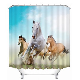3D Racing Horses Printed Polyester Light Blue Bathroom Shower Curtain