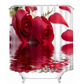Two Beautiful Red Roses Print 3D Bathroom Shower Curtain