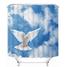 A Dove Flying in the Blue Sky Print 3D Bathroom Shower Curtain