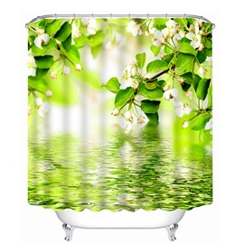 White Flowers and Green Leaves on the Water Print 3D Bathroom Shower Curtain
