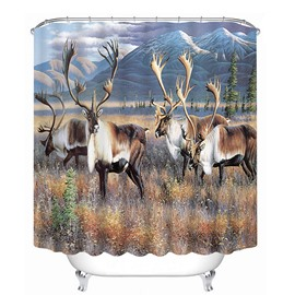 A Herd of Milu Deer Print 3D Bathroom Shower Curtain