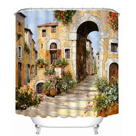 European Countryside Pathway Print 3D Bathroom Shower Curtain