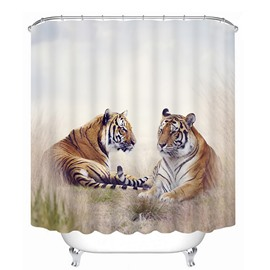 3D Two Lying Tigers Printed Polyester Shower Curtain