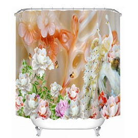 Carved Jade Flowers and Real Flowers Print 3D Bathroom Shower Curtain