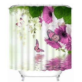 3D Purple Daisies and Butterflies Printed Polyester Shower Curtain
