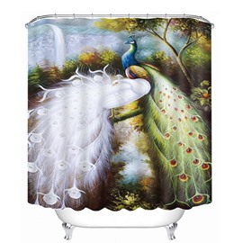 3D Blue and White Peacock Couple Printed Polyester Shower Curtain