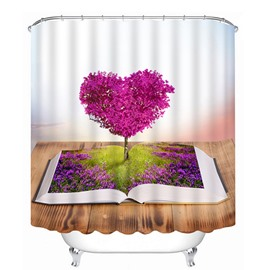 Creative Heart-Shaped Pink Tree Sprouting from a Book Print 3D Bathroom Shower Curtain