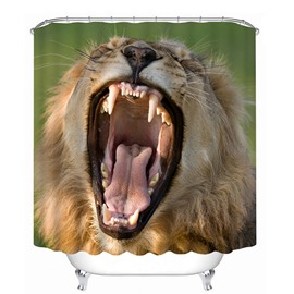 A Yawning Lion Print 3D Bathroom Shower Curtain