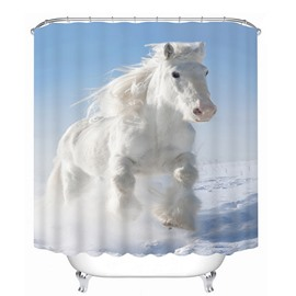 3D Running White Horse Printed Polyester Light Blue Bathroom Shower Curtain