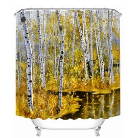 The Golden forest in Autumn Print 3D Bathroom Shower Curtain