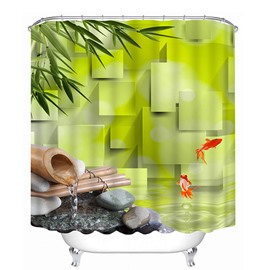 Interesting Green Water and Golden Fishes Print 3D Bathroom Shower Curtain