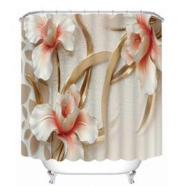 Three Relief Flowers Print 3D Bathroom Shower Curtain