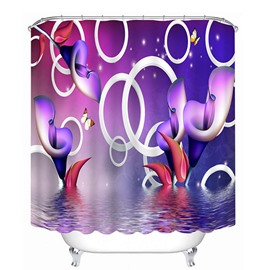 3D Purple Lilies in the Water Printed Polyester Shower Curtain
