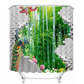 Couple Peacocks Standing in front of the Bamboo Forest Print 3D Bathroom Shower Curtain